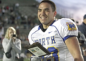 by: Miles Vance FABULOUS FINISH — Aloha senior John Shaffer is all smiles after scoring the winning touchdown in Saturday's Les Schwab Bowl at Hillsboro Stadium and being named the North's Most Outstanding Back.