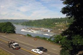 by: RAYMOND RENDLEMAN Willamette Falls, seen here from the Tumwater Room at the Clackamas County Historical Society in Oregon City, is the centerpiece for the proposed Willamette Falls National Heritage Area.