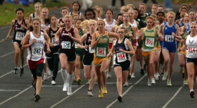 by: L.E. Baskow Cross-country runners from Portland Interscholastic League schools start the 2009 district meet at Grant High.