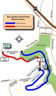 by: Courtesy of city of Portland A map shows the detour around Sam Jackson Park Road, which closes Monday morning for six to eight weeks.