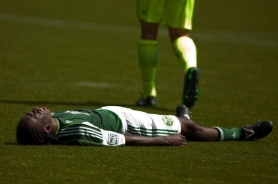 by: CHRISTOPHER ONSTOTT Diego Chara lays dejectedly on the Jeld-Wen Field turf after the Portland Timbers' 3-2 loss Sunday to Seattle Sounders FC.