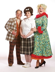 "by: Craig Mitchelldyer The Turnblad family, the focus of ""Hairspray"" at Tigard's Broadway Rose Theatre Company, is (from left) Ron Daum as Wilbur, Blythe Woodland as Tracy and Dan Murphy as Edna."