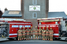 by: Contributed photo Volunteer members of the newly formed Boring-Clackamas Volunteer Firefighters Association stand united in front of the Boring training center. Pictured from Boring are Chris Bell, Tyler Hill, Levi Favara, Rick Coyle and Tera Vandewiele, and from Clackamas are J.J. Hanna, Tasia Wagner, Steve Montez and Jessica Gale.