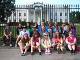 by: Contributed photo Students from throughout the Gresham-Barlow School District pose in front of the White House last month. The students were on a privately sponsored trip organized by Tim Tetz, a teacher at Gordon Russell Middle School, and saw numerous sites, including Times Square in New York City and the Washington Monument.