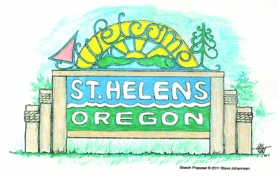 by: Courtesy photo WELCOME — This illustration by local artist Steve Johannsen received the highest marks by the St. Helens Entrance Sign Committee and is one option to become a Highway 30 marker.
