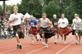 by: File photo Runners of the Highland Games Kilted Mile take off from the starting line to a cheering audience inside the Mt. Hood Community College stadium, where the games were held last year.