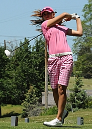 by: ERIC YAILLEN ON TARGET — Beaverton's Gigi Stoll drives the ball during her win in the Oregon Junior Amateur Championship in Klamath Falls last week. Stoll beat Morgan Thompson 5 and 3 to claim her title at Reames Golf & Country Club.