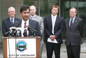 by: File photo Officials were all smiles last year when Damoder Reddy, CEO of Solexant, a solar cell manufacturing company, spoke Tat Gresham City Hall, announcing the company's decision to open a plant in Gresham. With Reddy were Gresham city councilors David Widmark and Josh Fuhrer, Mayor Shane Bemis and then- Gov. Ted Kulongoski.