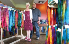 by: Jim Clark Jen and Tyler Andersen are the owners of Andersen Fiber Works, a shop that sells fiber and yarn.