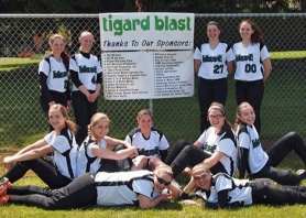 by: Greta Clapp TOUGH AT THE TOURNEY — The Tigard Blast team that placed fifth at the state tournament included (top, from left) Jordan Coleman, Rebekka Kruse, Maggie Clapp, Emily Allen, (middle) Alexa Hansen, Katie Chabreck, Kelsey Downey, Molly Olivera, Michelle Simmons, (bottom) Lexii Kelly and Sarah Kailiuli.