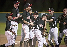 by: BECCA QUINT WINNERS — The Raleigh Hills Majors all-stars celebrate after beating Murrayhill on Monday night.