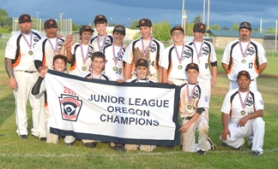 by: John Brewington TOURNAMENT WINNERS—The Scappoose Juniors Little League team did everything it had to do at the state tournament near Turner at Cascade High School last week. The team topped previously unbeaten Parrish, 7-1, to win the state championship and earn a berth at Western Regionals.