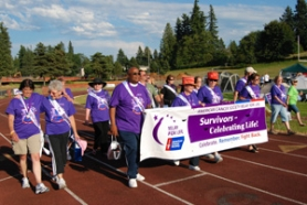 by: contributed photo These walkers participated in the survivor lap at the beginning of the 2010 Relay for Life at Sandy High School. The annual overnight event — this year Friday and Saturday, July 29-30 — raises money to support local families and for cancer research.