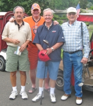 by: Barbara Sherman HANGING AROUND — Waiting for their tee time at the King City Golf Course are (from left) Phillip Kantas of Beaverton, Mike Kell of King City, who had a substitute coming because of an injured foot, Bruce Scott of Tigard and Don Heckler of King City.