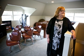 "by: Jaime Valdez Program Director Trina Strand tours the ""dude dorm"" a converted attic-turned-rec-room at Cordero House, a Metzger home for abused teenagers that recently finished a two-year renovation."