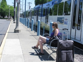 by: Mara Stine Jamie Patchin of Gresham waits on the same bench for the same bus as Muriel Morgan, 84, who was the victim of an unprovoked attack at the Cleveland MAX station on Wednesday. She thinks there needs to be more security on MAX.