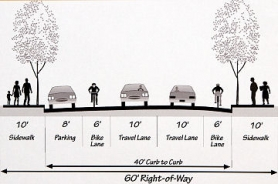 by: Courtesy of Portland Department of Transportation PDOT's planned new cross-section of S.E. 52nd north of Woodstock Boulevard, with the new bicycle lanes shown.