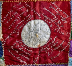 by: Eileen G. Fitzsimons The names of Sellwood residents – four members of the Lance family – are prominent on one of the 81 blocks of this historic GAR quilt.