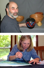 "by: Jim Hart Above, Howard Borer of Boring/Damascus shows a turned wood vase with a finish produced with a wood burner. Below, Watercolorist Connie Athman, who lives between Sandy and Boring, paints on ""Bridge of the Gods,"" which is now finished and in an exhibit at the Sandy Area Chamber of Commerce in August."