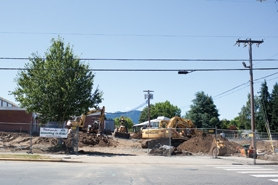 by: Chase Allgood Heavy equipment is a familiar sight along B Street in front of Harvey Clarke Elementary School this summer.