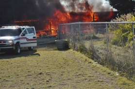 by: Submitted photo TRAGEDY — This Warren barn exploded in flames Aug. 1, killing a 3-year-old boy who had been playing inside.
