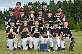 by: submitted photo THE CHAMPS — Members of the Tualatin Midget Federal baseball team include (front row, from left)       Caden Robbins, Connor Zralka, Kyle Dernedde, Cameron Atkinson, Caden Dickson, Drake Harris, (middle row) Kyle Kamp, Bryce Hulse, Jack Rose,  Bridger Steppe, Travis Shiele, Gavin Moore, (back row) head coach Mark Dernedde, assistant coach Keith Zralka, assistant coach Shane Harris and assistant coach Tim Atkinson.