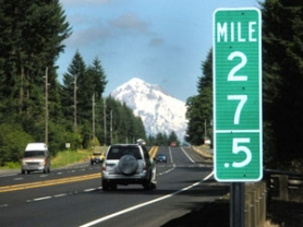 by: Jim Hart This is the first half-mile marker on Highway 26 on the way to Government Camp. Markers like this one have been installed by ODOT contractors on highways 26 and 217 in the Portland area.