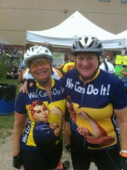 by: submitted photo West Linn residents Jane Brown, left, and Terry Paddon, who both have multiple sclerosis, pose for a photo during RAGBRAI (The Register's Annual Great Bicycle Ride Across Iowa), a bike ride spanning the state of Iowa.