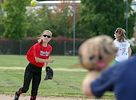 by: Miles Vance PRACTICE MAKES — Willow Creek's Sydney Rusin makes a throw during her team's practice on Friday at Sunset High School.