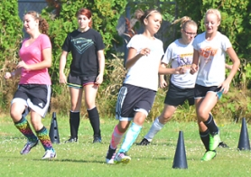 by: John Brewington FOOT DRILLS—St. Helens soccer players do a few drills during camp at St. Helens High School this week. Official practices begin this coming Monday.