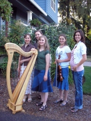 by: ELLEN SPITALERI Whispering Roses of Oak Grove will play at a Saturday benefit for Hayden's Helping Hands. Members are, left to right, sisters Krista, Sarah, Janna and Kathrina Bisceglia. On the right is Rebekka Hauskins, who formed the nonprofit to help parents who have a stillborn baby pay hospital expenses.
