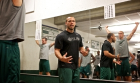 by: Jaime Valdez LIFT IT — Andrew Pompei leads the way during a Portland State University weightlifting session.