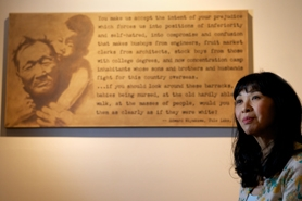 "by: Jaime Valdez Sharon Inahara of Cedar Mill is showing 10 large canvases at the Washington County Museum in an exhibit called ""The Day We Left,"" about the relocation of Japanese Americans during World War II. Each piece features a quotation that the artist found inspiring."
