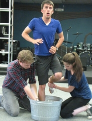 "by: Submitted photo Actors Sean Powell, Andy Christensen and Julianne O'Connor are among the Village Players performing ""The Diviners"" at Village Baptist Church in Beaverton this weekend and next."