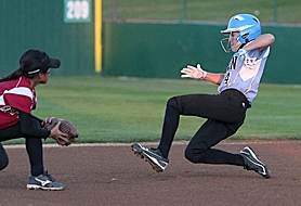 by: Miles Vance HIT IT — Willow Creek's Emily Preble slides into second base with a steal during her team's 7-2 loss to Asia-Pacific in Friday night action at the Little League Softball World Series at Alpenrose Dairy.