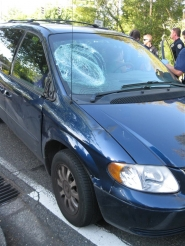 by: Submitted photo A 76-year-old man riding a bike was struck by this minivan. The impact caused the cyclist to hit the windshield.