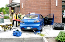 by: Courtesy of BPD A 32-year-old man suffered a seizure Monday morning and crashed his Mazda into a Southwest Millikan Way restaurant. No one else was injured in the accident.