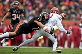 by: COURTESY OF OREGON STATE Cornerback Brandon Hardin of Oregon State, making a hit against Washington State, plans to have surgery this week to repair a partial fracture of his left shoulder socket. But he isn't expected to return this season.