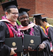 by: Parrish Evans Jeron Jackson and Dalton Douglas graduated from Pacific University's College of Health Professions Saturday with master's degrees in healthcare administration.