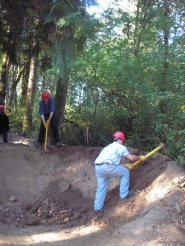 by: ELLEN SPITALERI Northwest Youth Corps workers recently helped mitigate damage done by an illegal bicycle race course in the Three-Creeks Natural Area near Clackamas Town Center.