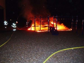 by: Photo submitted A suspicious fire Aug. 15 completely destroyed this play structure at the Bilquist Elementary School playground.