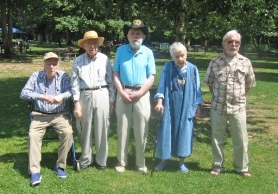 by: Barbara Sherman HARDY FARM STOCK – The five Morrow siblings who made it to the 2011 reunion pose in Cook Park, including Bob (second from left) and Joe (center).