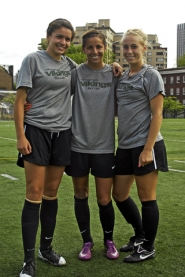 by: DAN BROOD TERRIFIC TRIO – Sherwood graduates (from left) Daniela Solis, Amanda Dutra and Michelle Hlasnik are looking to have a big soccer season for Portland State.