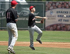 by: Miles Vance MAKE THE PLAY — Mound Time second baseman Rob Lavey (shown here at the Pacific Northwest Regionals) and his teammates beat Newton, Mass., 3-0 in the Babe Ruth World Series on Friday.