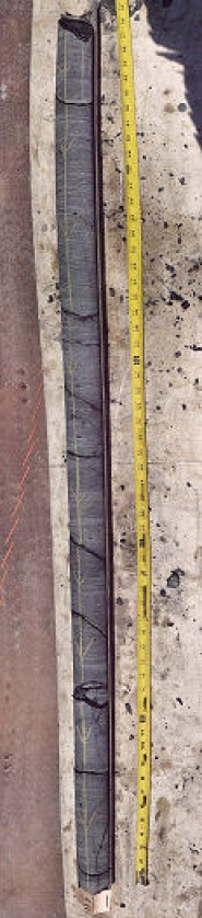 "by:  This core sample shows a section of the ""Basalt of Waverly Heights"" that lies about 117 feet below the Willamette River bed, says Ben Hoffman, P.E., with CH2M HILL Geotechnical Engineering, who provided the photo to <i>THE BEE</i>."