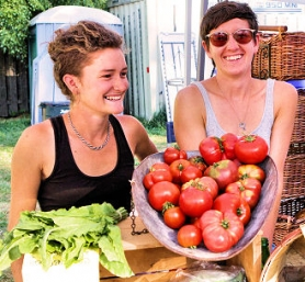 "by: David F. Ashton Holly Mills and Caitlin Arnold say their ""Sidewalk's End Farm"" produce is as local as you can get – grown in the backyards of Southeast Portlanders."