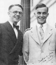 "by:  Hugh McGilvra (right) with business partner C. ""Jeeter"" Gillette posed on Pacific University's campus in 1928, shortly after the two men bought the News-Times. Gillette left Forest Grove in 1930 to become manager of the Coos Bay Times, leaving McGilvra to carry on the newspaper and start a major printing business in town."