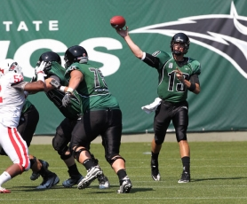 by: STEVE BRENNER Portland State's Drew Hubel launches a pass in the Vikings' season opener last week against Southern Oregon.
