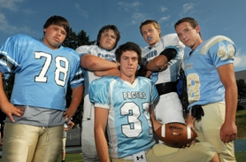 by: VERN UYETAKE Clockwise from left: Ryan Wold, JJ Todd, Blake Dutton, Dylan Erwin and Tom Knecht will help lead an athletic Lakeridge football team this year that is no longer under the radar and one that hopes to improve on its fourth-place finish in league last year.
