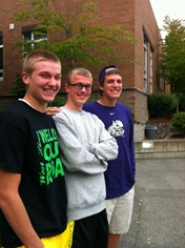 by: lori hall  West Linn High School students, from left, Jarrod Howard, Drew Cribbs and Kevin Edwards, worked on an anti-drug media campaign this summer.
